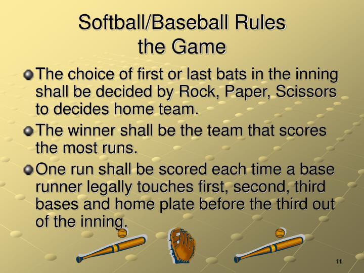 Softball/Baseball Rules