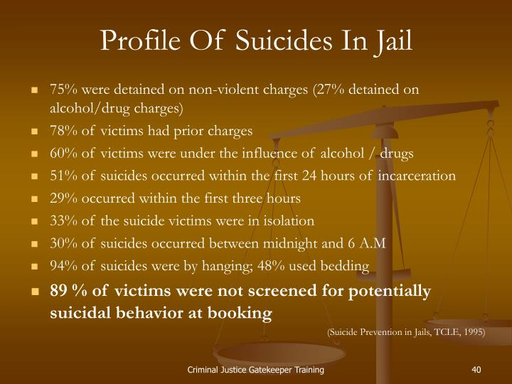 Profile Of Suicides In Jail