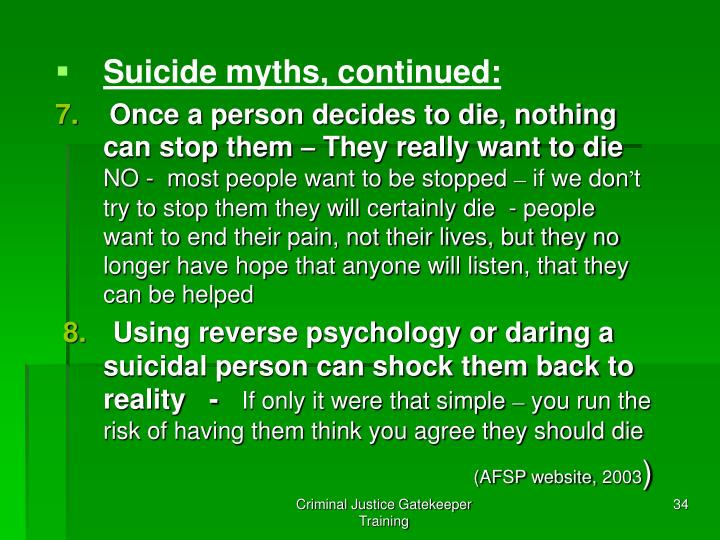 Suicide myths, continued: