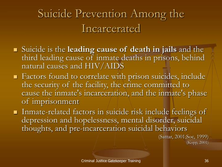 Suicide Prevention Among the Incarcerated