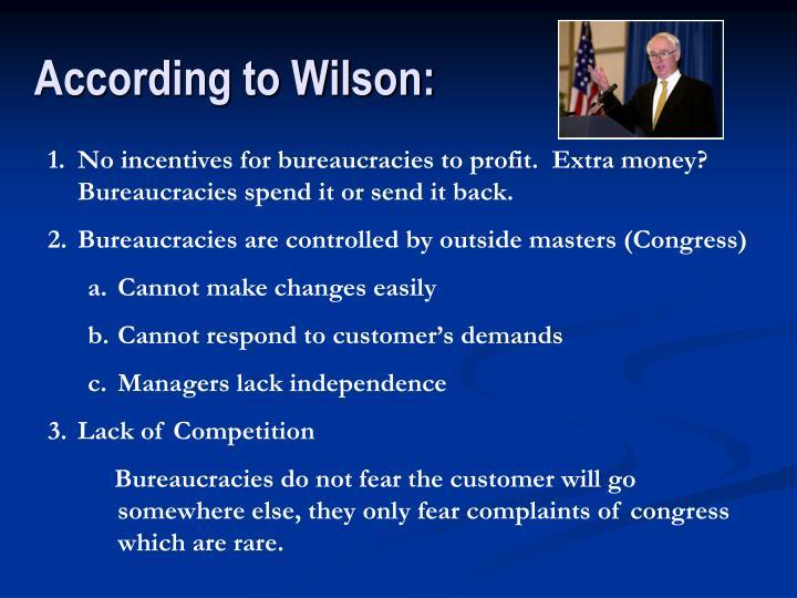 According to Wilson: