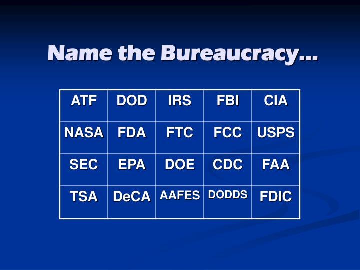 Name the Bureaucracy…
