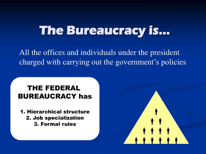 federal bureaucracy and tasks specialization The federal bureau of investigation (fbi), the national aeronautics and space administration (nasa) and the environmental protection agency (epa) are respectively, an agency within a cabinet department, an independent agency, and a regulatory agency.