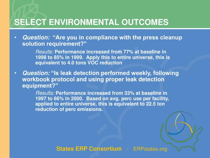 SELECT ENVIRONMENTAL OUTCOMES