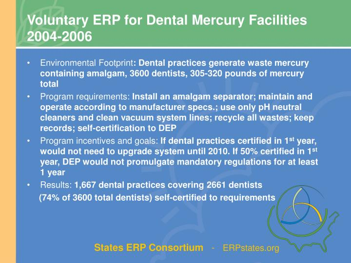 Voluntary ERP for Dental Mercury Facilities      2004-2006