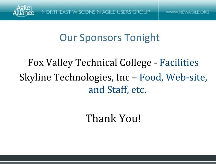 Our sponsors tonight