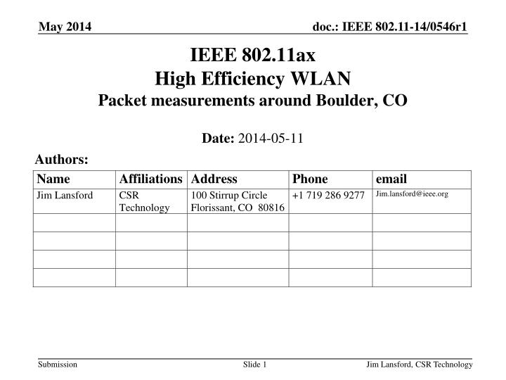 ieee 802 11ax high efficiency wlan packet measurements around boulder co n.