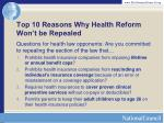 top 10 reasons why health reform won t be repealed