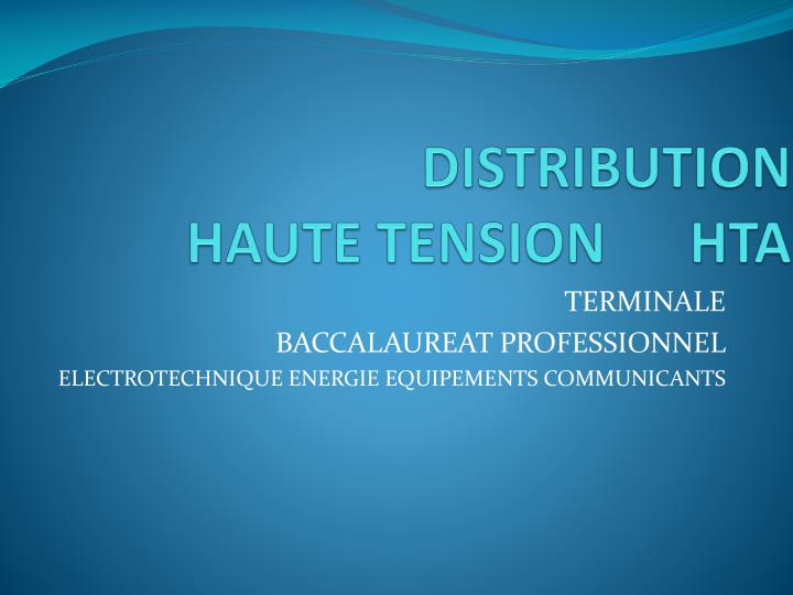 distribution haute tension hta n.