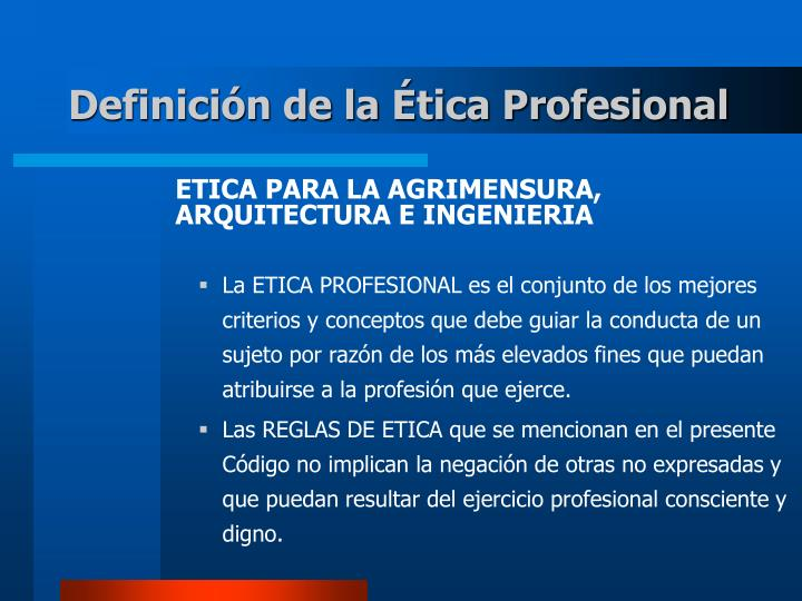 Definici n de la tica profesional
