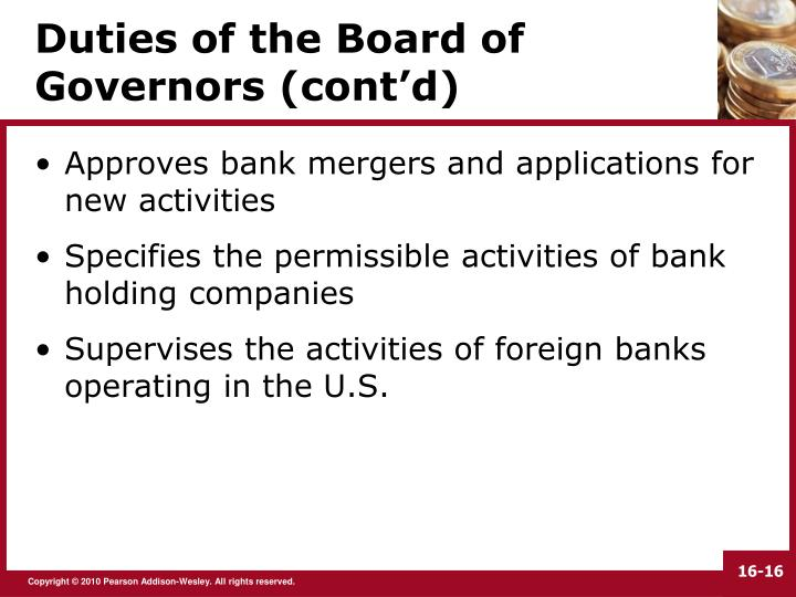 Duties of the Board of Governors (cont'd)