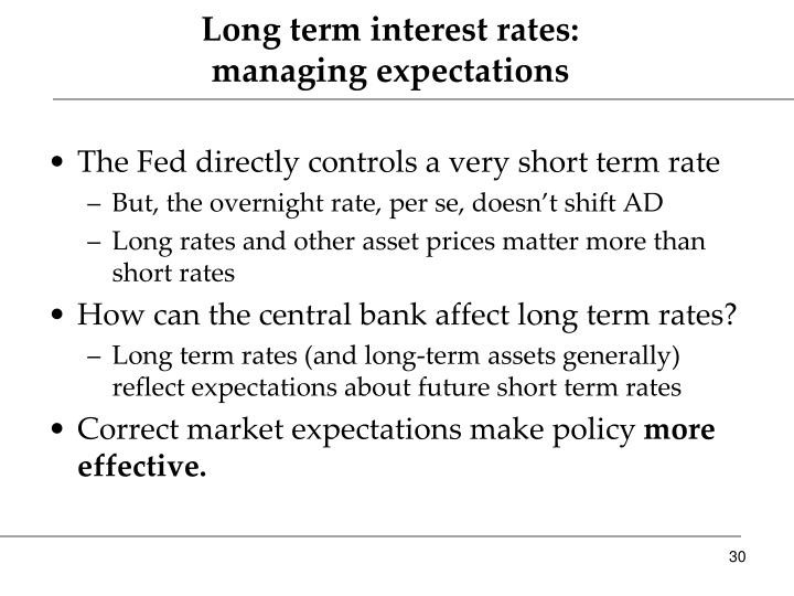 Long term interest rates: