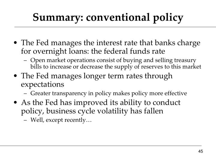 Summary: conventional policy