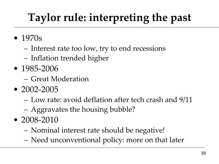 Taylor rule: interpreting the past