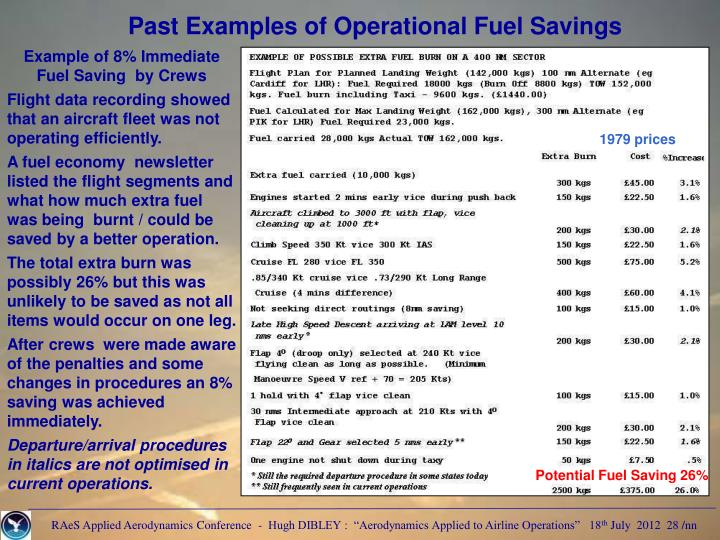 Past Examples of Operational Fuel Savings