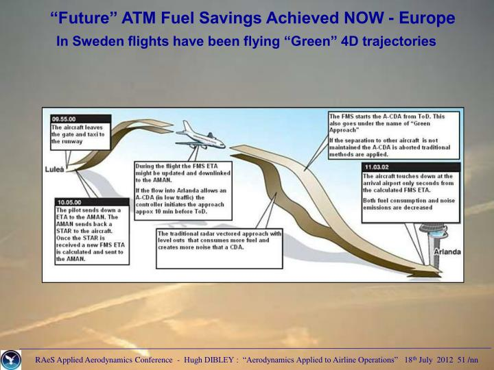 """Future"" ATM Fuel Savings Achieved NOW - Europe"