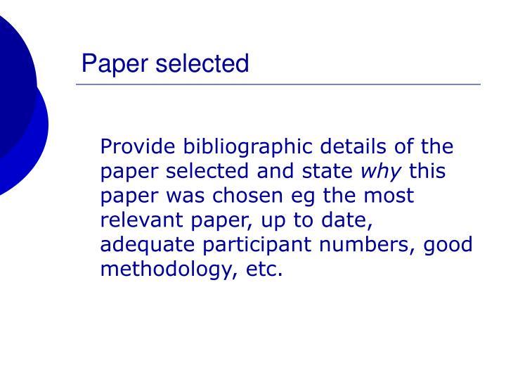 Paper selected