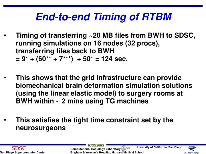 End-to-end Timing of RTBM