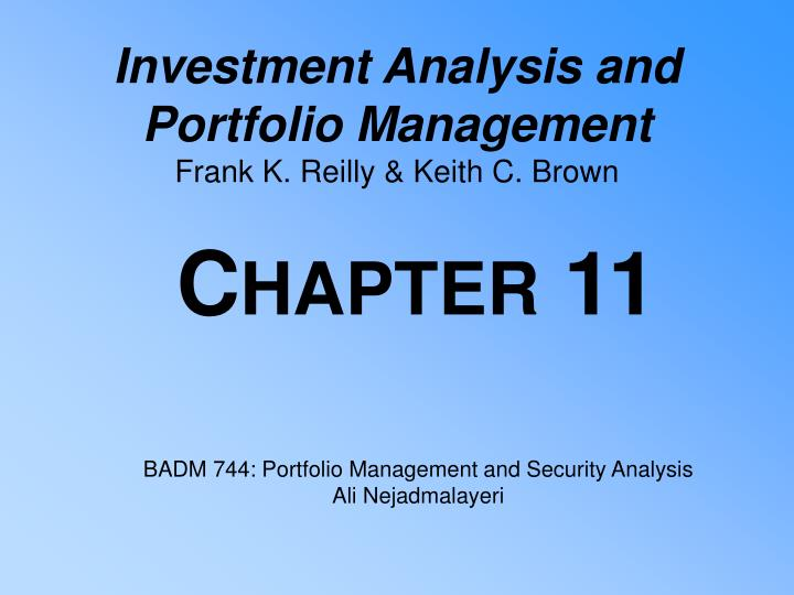 investment analysis and portfolio management frank k reilly keith c brown n.