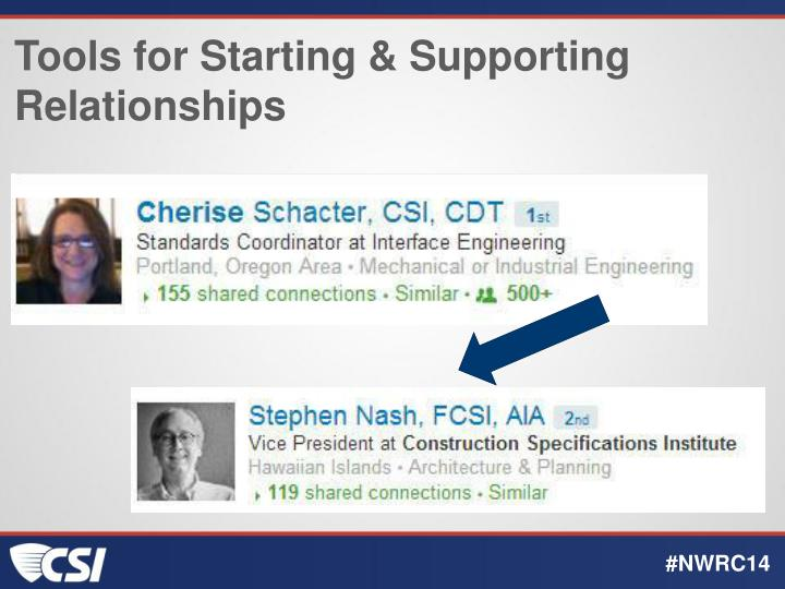 Tools for Starting & Supporting Relationships