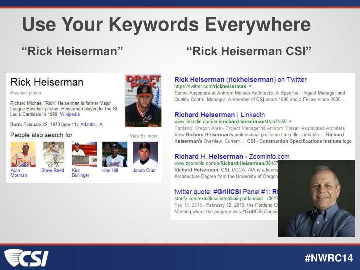 Use Your Keywords Everywhere
