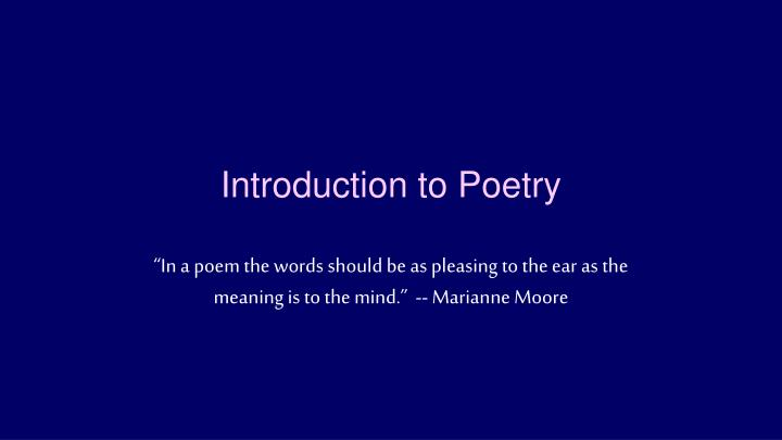 introduction to poetry n.