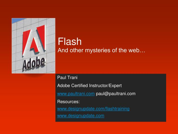 flash and other mysteries of the web n.