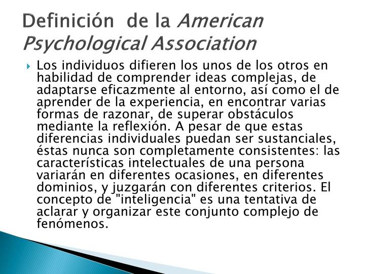 Definici n de la american psychological association