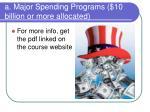 a major spending programs 10 billion or more allocated