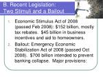 b recent legislation two stimuli and a bailout