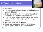 b tax cuts and rebates