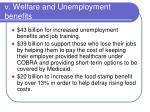 v welfare and unemployment benefits