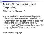 activity 29 summarizing and responding