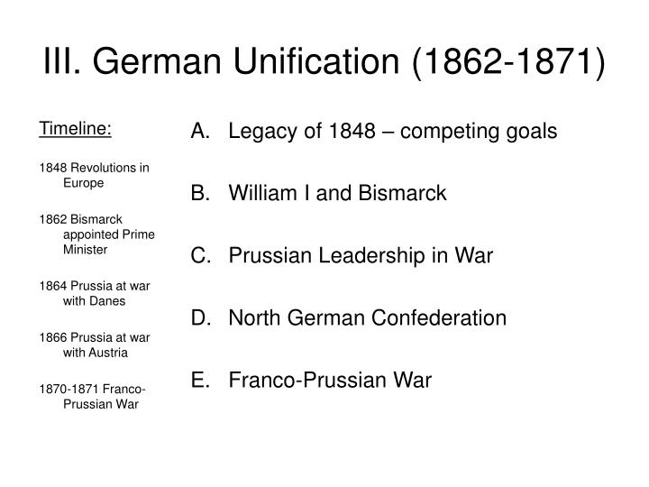 """bismarcks unification of germany 1862 1871 essay Germany became a modern, unified nation under the leadership of the """"iron chancellor"""" otto von bismarck (1815-1898), who between 1862 and 1890 effectively ruled first prussia and then all of germany."""