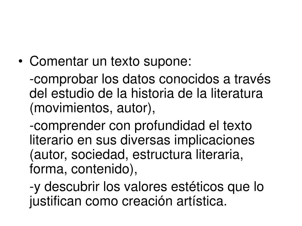 Ppt Comentario De Textos Powerpoint Presentation Free