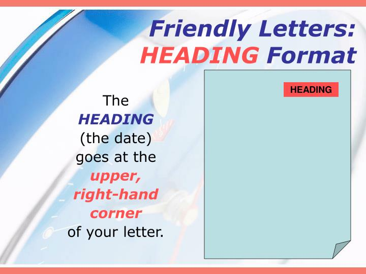 friendly lettersheading format