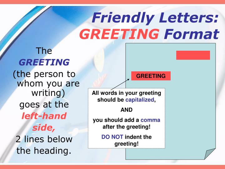 Ppt letter writing friendly letters powerpoint presentation id friendly lettersgreeting format spiritdancerdesigns Image collections