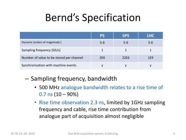 Bernd's Specification