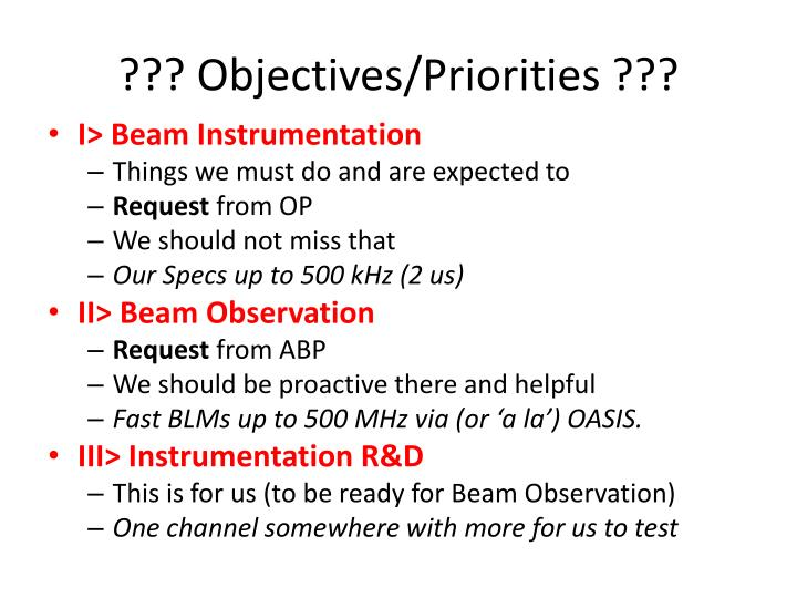 ??? Objectives/Priorities ???
