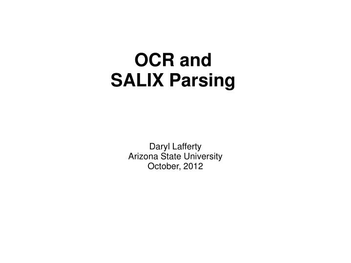 ocr and salix parsing n.