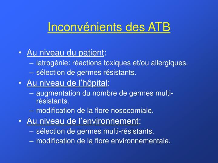 Inconvénients des ATB