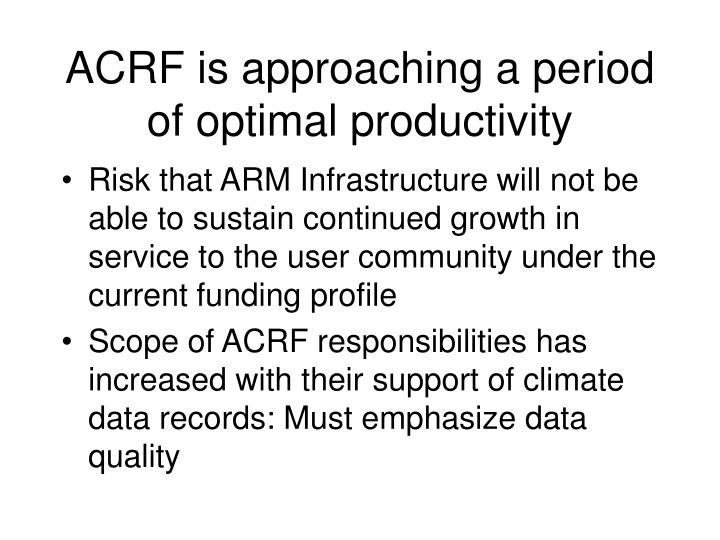 ACRF is approaching a period of optimal productivity