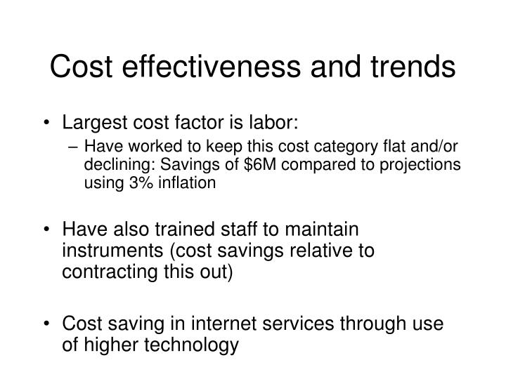 Cost effectiveness and trends