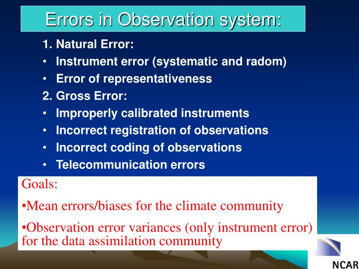 Errors in Observation system: