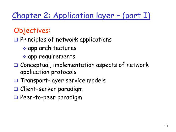 chapter 2 application layer part i n.