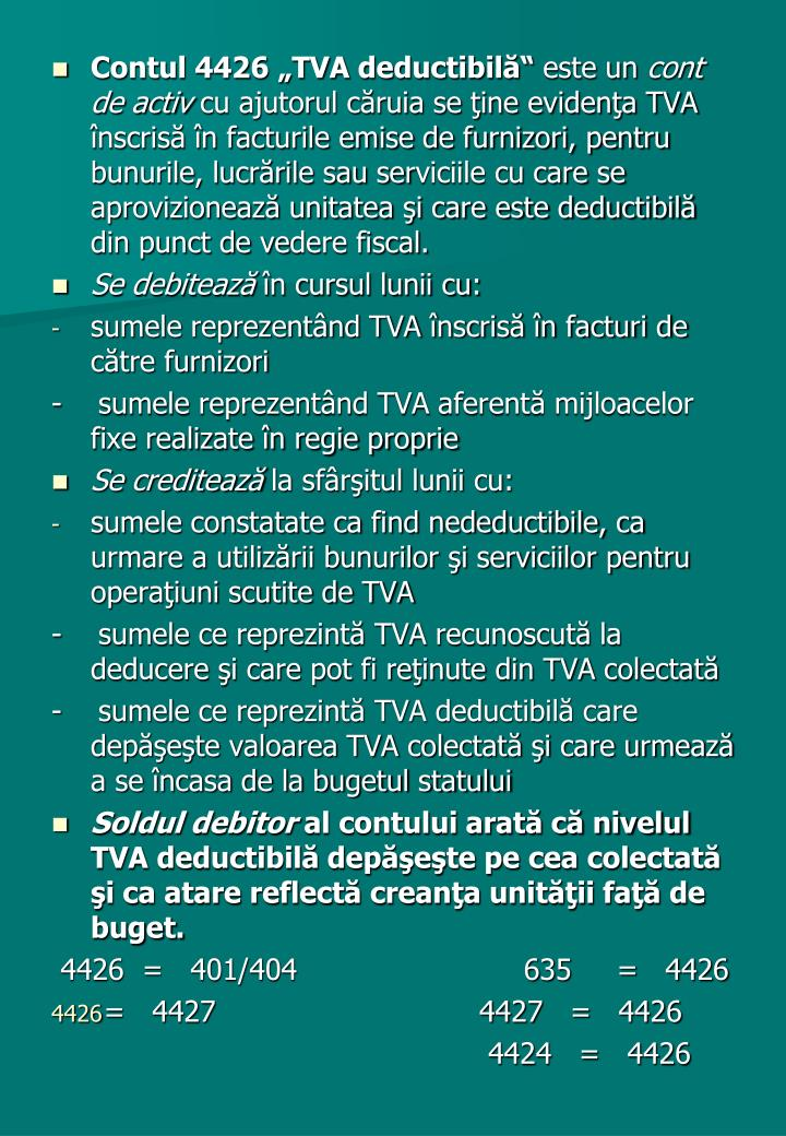 """Contul 4426 """"TVA deductibilă"""""""