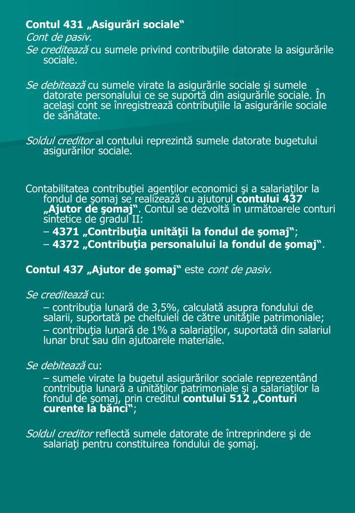 """Contul 431 """"Asigurări sociale"""""""