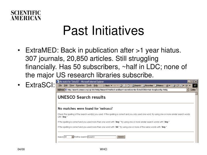 Past Initiatives
