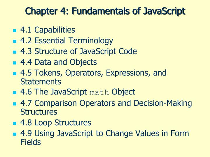 chapter 4 fundamentals of javascript n.