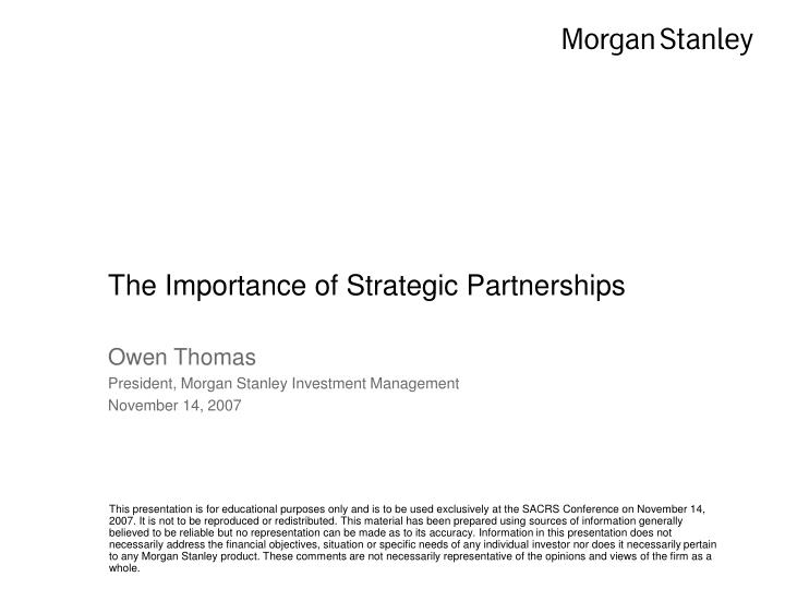 the importance of strategic partnerships n.